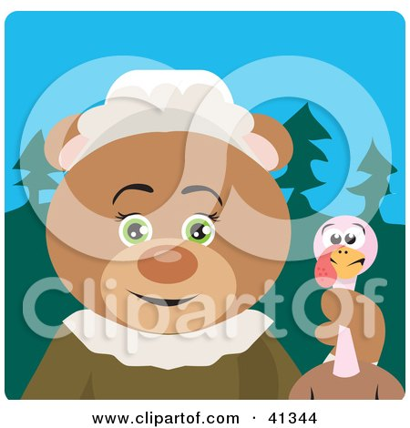 Clipart Illustration of a Teddy Bear Pilgrim Character Holding A Thanksgiving Turkey by Dennis Holmes Designs
