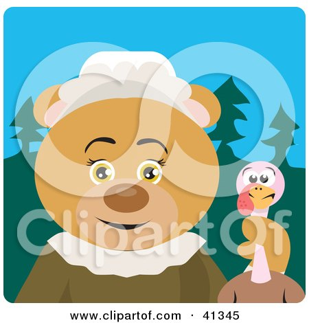 Clipart Illustration of a Pilgrim Bear Character Holding A Thanksgiving Turkey by Dennis Holmes Designs