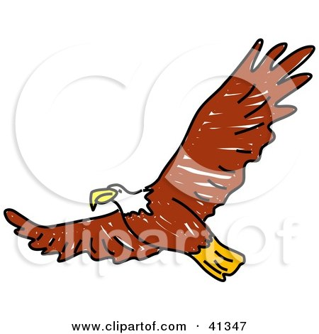 Clipart Illustration of a Flying Brown Bald Eagle With Its Wings Spanned by Prawny