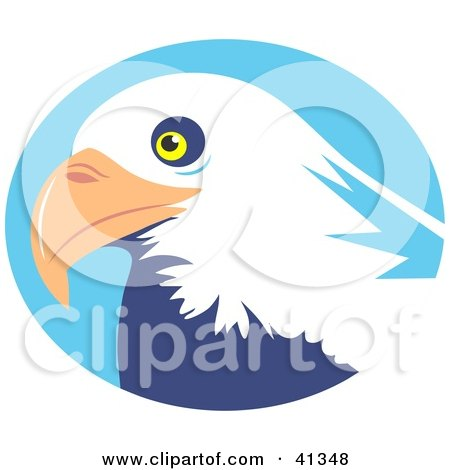 Clipart Illustration of a Majestic Bald Eagle Head In Front Of A Blue Circle by Prawny
