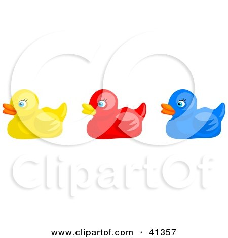 Clipart Illustration of a Row Of Yellow, Red And Blue Rubber Ducks by Prawny