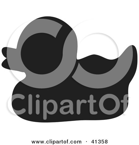 Clipart Illustration of a Black Silhouette Of A Rubber Ducky by Prawny