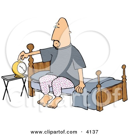 Man Setting His Alarm Clock Before Going to Sleep In His Bedroom Clipart by djart