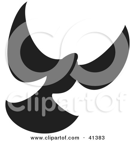 Clipart Illustration of a Black Silhouette Of A Flying Dove by Prawny