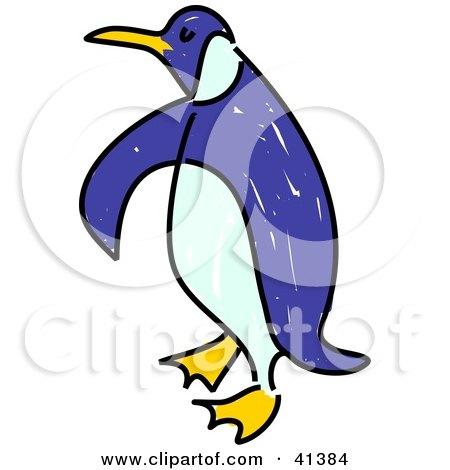 Clipart Illustration of a Waddling Blue Penguin by Prawny