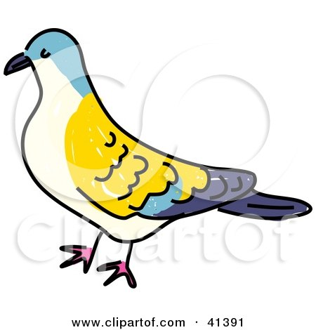 Clipart Illustration of a Yellow, Blue And Beige Turtle Dove by Prawny