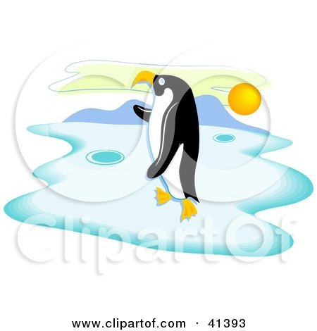 Clipart Illustration of a Lone Penguin Standing On Ice At Sunset by Prawny