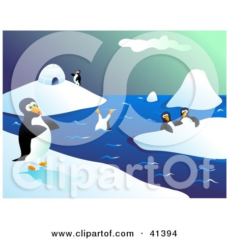 Clipart Illustration of Happy Penguins Walking On Ice And Diving In Icy Waters by Prawny