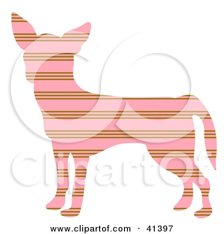 Pink And Brown Profiled Chihuahua Dog With Horizontal Stripes Posters, Art Prints