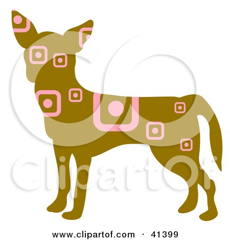 Brown Profiled Chihuahua Dog With Pink Square And Circle Patterns Posters, Art Prints