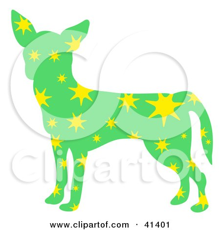 Green Profiled Chihuahua Dog With Yellow Stars Posters, Art Prints
