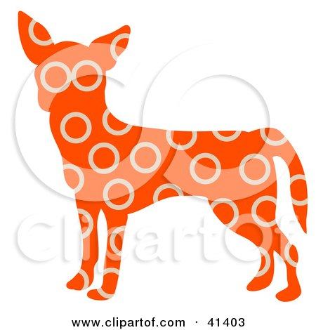 Orange Profiled Chihuahua Dog With Beige Circle Patterns Posters, Art Prints