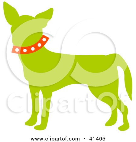 Green Profiled Chihuahua Dog Wearing A Red Collar Posters, Art Prints