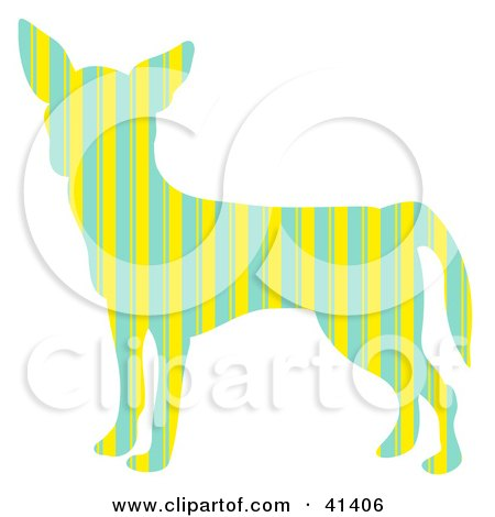 Green And Yellow Striped Profiled Chihuahua Dog Posters, Art Prints