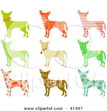 Nine Chihuahua Dog Profiles With Colorful Patterns Posters, Art Prints