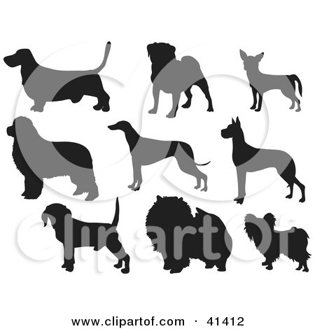 Royalty-free canine clipart picture of nine black silhouetted basset hound,