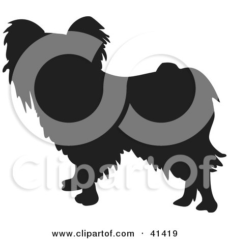 Royalty-free canine clipart picture of a black silhouetted Papillon dog