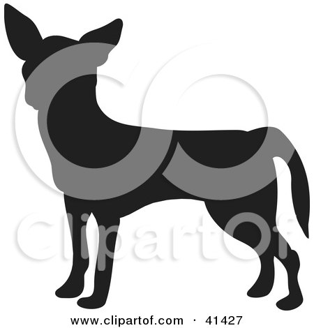 Black Silhouetted Chihuahua Dog Profile Posters, Art Prints