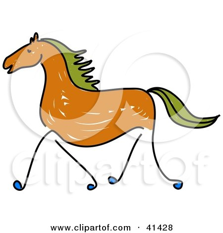 Clipart Illustration of a Sketched Brown Galloping Horse With Green Hair by Prawny