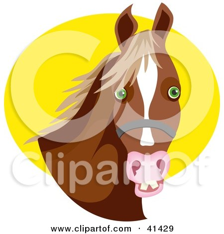 Clipart Illustration of a Bridled Brown Horse With Green Eyes Against A Yellow Circle by Prawny