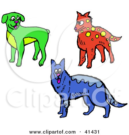 Clipart Illustration of a Green Boxer, Red Dog And Blue Alsatian by Prawny