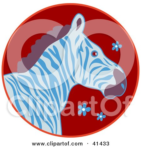 Clipart Illustration of a Profile Of A Blue And White Zebra On A Red Floral Circle by Prawny