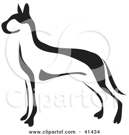 Clipart Illustration of a Black And White Paintbrush Styled Image Of A Great Dane by Prawny