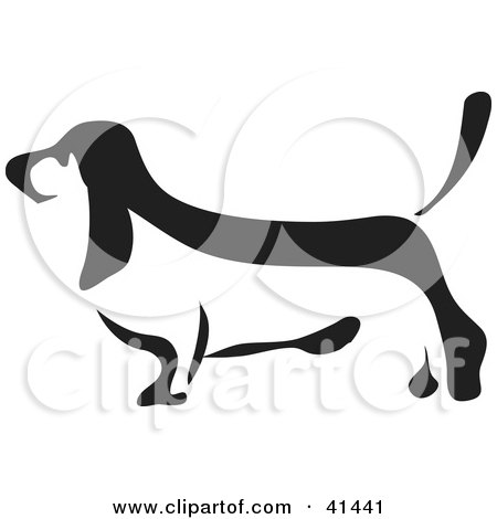 Clipart Illustration of a Black And White Paintbrush Styled Image Of A Basset Hound by Prawny