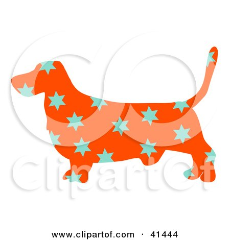 Clipart Illustration of an Orange Profiled Basset Hound Dog With Blue Stars by Prawny