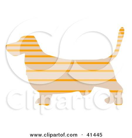 Clipart Illustration of a Beige Profiled Basset Hound Dog With Orange Horizontal Stripes by Prawny