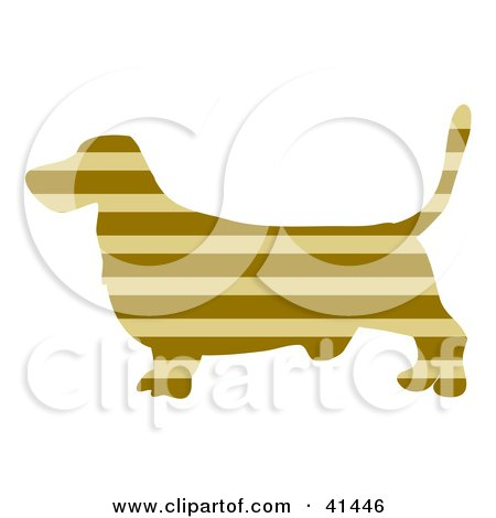 Clipart Illustration of a Brown Profiled Basset Hound Dog With Tan Horizontal Stripes by Prawny