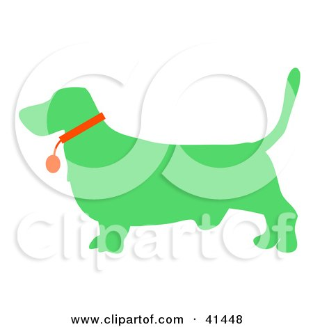 Clipart Illustration of a Green Profiled Basset Hound Dog Wearing A Red Collar by Prawny