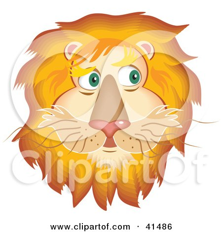 Clipart Illustration of a Handsome Lion Face With A Golden Mane by ...