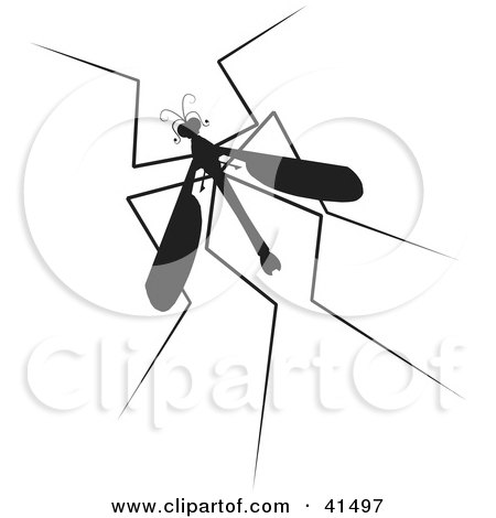 Clipart Illustration of a Black Silhouetted Mosquito Hawk by Prawny