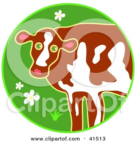 Clipart Illustration of a Brown And White Cow Standing In A Green Field With Flowers by Prawny