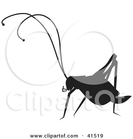 Clipart Illustration of a Cricket Silhouetted in Black by Prawny