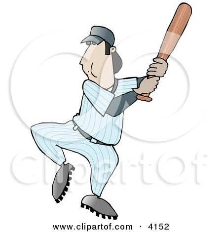 Adult Male Baseball Player Swinging the Bat Towards the Ball Clipart by djart