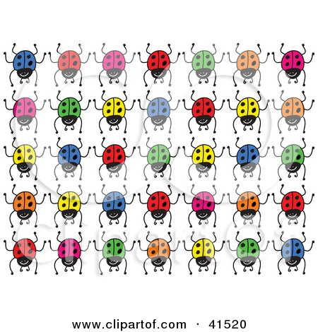 Clipart Illustration of Rows Of Colorful Blue, Red, Yellow, Orange And Green Ladybugs by Prawny