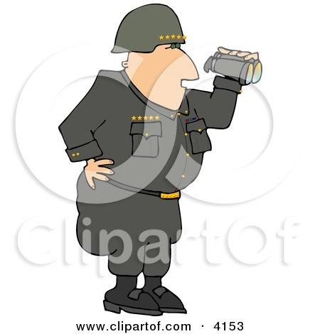 Military 5 Star General Looking Through Binoculars Clipart