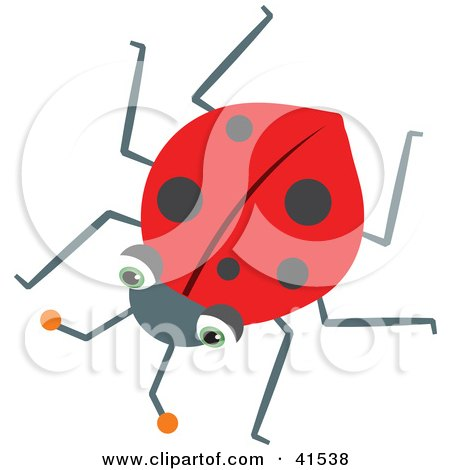 Clipart Illustration of a Lonely Red Ladybug With Black Spots by Prawny