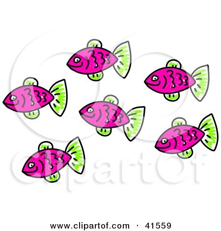 Clipart Illustration of a School Of Purple Fish With Green Fins by Prawny