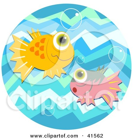 Clipart Illustration of Orange And Pink Fish With Big Eyes, Watching Bubbles In Blue Water  by Prawny