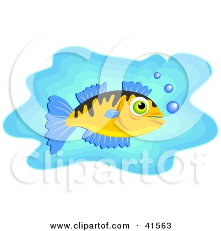 Clipart Illustration of a White Fish With Blue Fins And Bubbles In Blue Water by Prawny