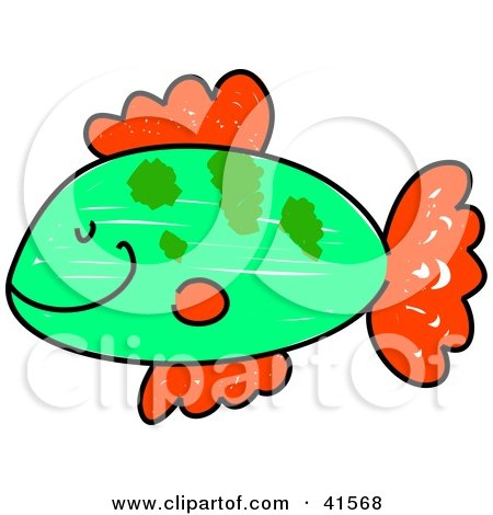 Clipart Illustration of a Happy Green Fish With Red Fins by Prawny