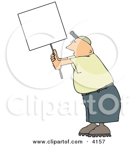 Male Protester Holding Up A Blank Sign Clipart by djart