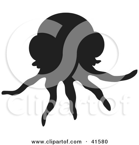 Clipart Illustration of a Black Silhouetted Jellyfish by Prawny