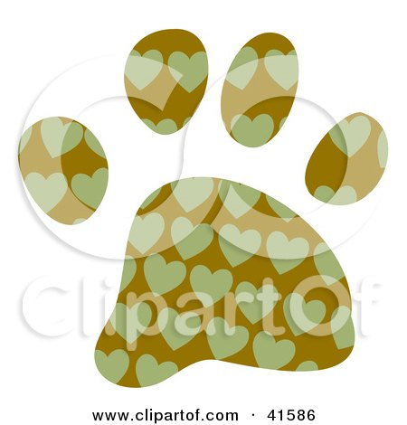 Clipart of a Watercolor Heart Patterned Dog Paw Print - Royalty ...