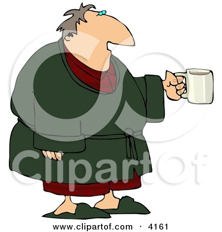 Tired Man Wearing a Bathrobe and Holding a Cup of Coffee During the Early Morning of His Day Posters, Art Prints