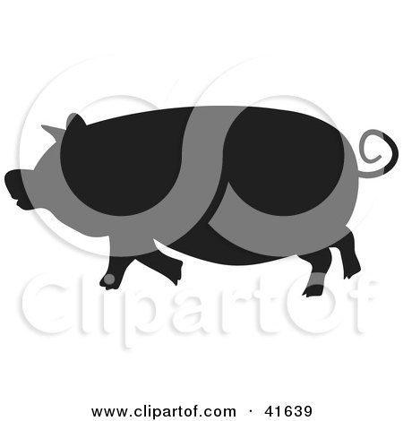 Clipart Illustration of a Black Silhouetted Pig by Prawny