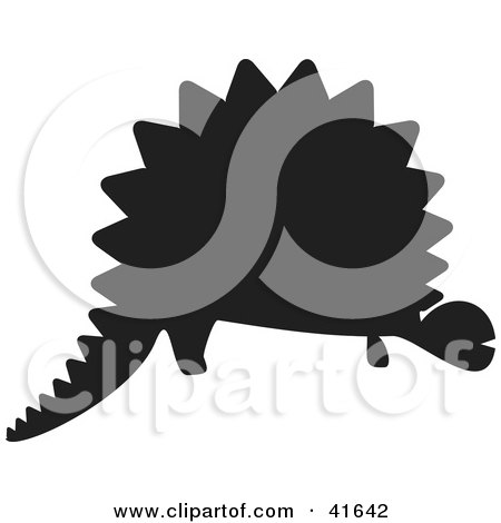 Clipart Illustration of a Black Silhouetted Dinosaur by Prawny
